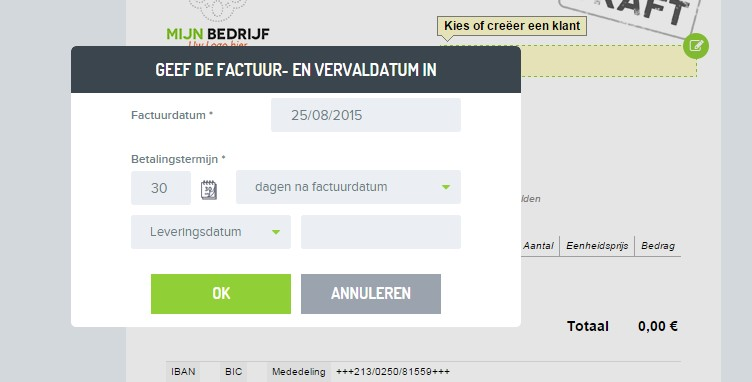 démarrer faire une facture NL 4