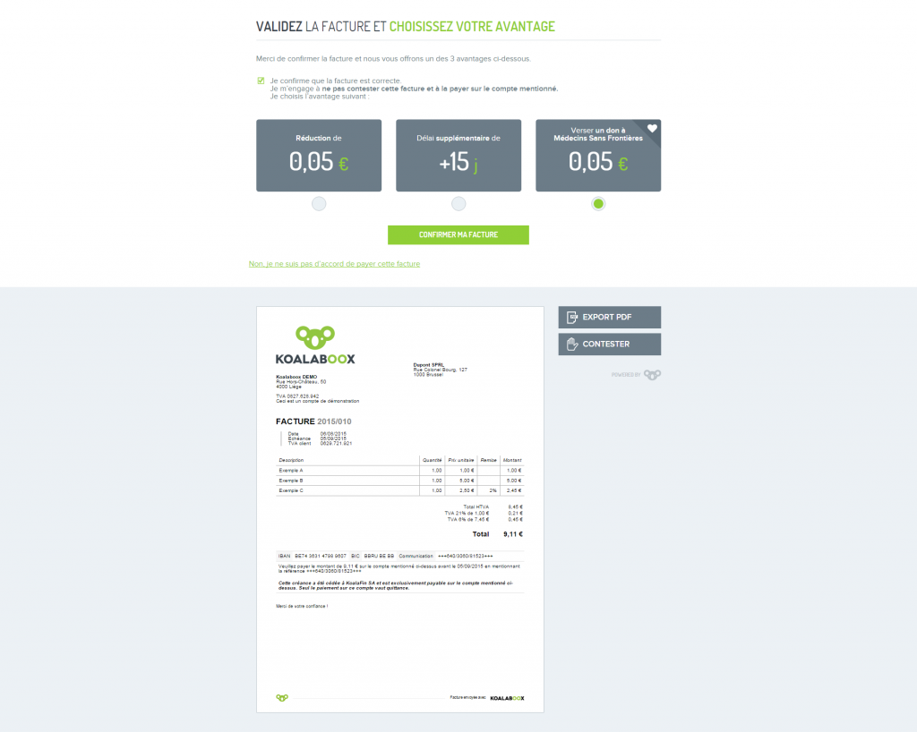 page de confirmation client